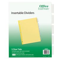 Avery 24835 Office Essentials 5-Tab Buff Paper / Clear Insertable Divider Set - 12/Pack