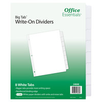 Avery 24848 Office Essentials Big Tab 8-Tab White Write-On Divider Set - 12/Pack