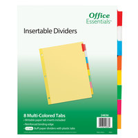 Avery 24836 Office Essentials 8-Tab Buff Paper / Multi-Color Insertable Divider Set - 12/Pack