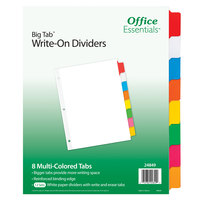 Avery 24849 Office Essentials Big Tab 8-Tab White / Multi-Color Write-On Divider Set - 12/Pack