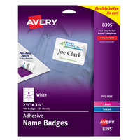 Avery 08395 2 1/3 inch x 3 3/8 inch Matte White Removable Flexible Adhesive Printable Name Badge Label - 160/Pack