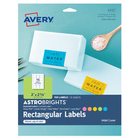 Avery 04331 AstroBrights 2 inch x 2 5/8 inch Assorted Matte Color Easy Peel Printable Label - 150/Pack