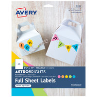Avery 04332 AstroBrights 8 1/2 inch x 11 inch Assorted Matte Color Easy Peel Printable Label - 10/Pack