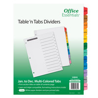 Avery 24844 Office Essentials Jan-Dec Tab White / Multi-Color Table 'n Tabs Divider Set - 3/Pack