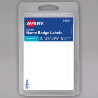 Avery 05398 2 1/3 inch x 3 3/8 inch Matte White Removable Flexible Adhesive Handwrite Only Name Badge Label - 15/Pack