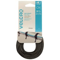 Velcro® 94257 ONE-WRAP 15 inch x 1/2 inch Hook and Loop Black/Gray Fasteners   - 30/Pack