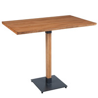 Lancaster Table & Seating 30 inch x 48 inch Solid Wood Live Edge Bar Height Table with Antique Natural Finish