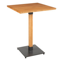 Lancaster Table & Seating 30 inch Square Solid Wood Live Edge Bar Height Table with Antique Natural Finish