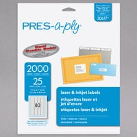 Avery 30617 PRES-a-ply 1/2 inch x 1 3/4 inch Matte White Permanent Printable Label - 2000/Pack