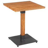 Lancaster Table & Seating 24 inch Square Solid Wood Live Edge Dining Height Table with Antique Natural Finish