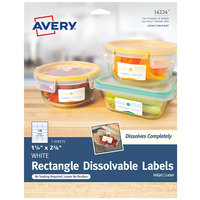 Avery 14224 1 1/4 inch x 2 3/8 inch Matte White Dissolvable Printable Rectangle Label   - 54/Pack