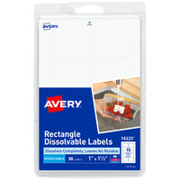 Avery 14225 1 inch x 1 1/2 inch Matte White Dissolvable Printable Rectangle Label - 30/Pack