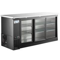 Avantco UBB-72S-HC 73 inch Black Counter Height Narrow Sliding Glass Door Back Bar Refrigerator with LED Lighting