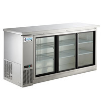 Avantco UBB-72S-HC 73 inch Stainless Steel Counter Height Narrow Sliding Glass Door Back Bar Refrigerator with LED Lighting