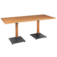 Lancaster Table & Seating 30 inch x 72 inch Solid Wood Live Edge Dining Height Table with Antique Natural Finish