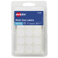 Avery 06738 3/4 inch Matte White Removable Multi-Use Handwrite Only Round ID Label - 315/Pack