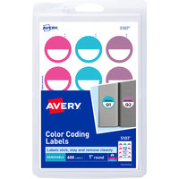Avery 05107 1 inch Assorted Matte Color Removable Color Coding Printable Round Label - 600/Pack