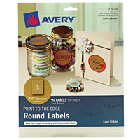 Avery 22818 2 1/2 inch Kraft Brown Permanent Print-to-the-Edge Round Label - 90/Pack