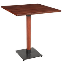 Lancaster Table & Seating 36 inch Square Solid Wood Live Edge Bar Height Table with Mahogany Finish