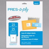 Avery 30642 PRES-a-ply 8 1/2 inch x 11 inch Matte White Permanent Printable Label - 25/Pack