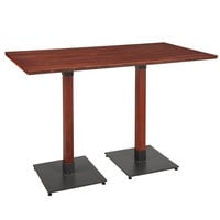 Lancaster Table & Seating 30 inch x 60 inch Solid Wood Live Edge Bar Height Table with Mahogany Finish
