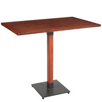 Lancaster Table & Seating 30 inch x 48 inch Solid Wood Live Edge Bar Height Table with Mahogany Finish
