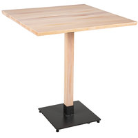 Lancaster Table & Seating 36 inch Square Solid Wood Live Edge Bar Height Table with Antique White Wash Finish