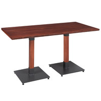 Lancaster Table & Seating 30 inch x 60 inch Solid Wood Live Edge Dining Height Table with Mahogany Finish