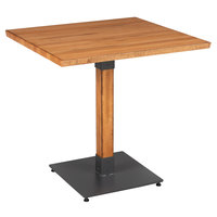 Lancaster Table & Seating 30 inch Square Solid Wood Live Edge Dining Height Table with Antique Natural Finish