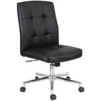 Alera ALENT4916 Slimline Series Black Textured Swivel Task Chair with Chrome Base