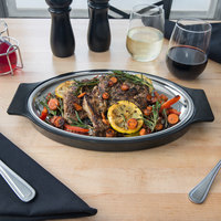 8 inch x 11 1/2 inch Oval Stainless Steel Sizzler Platter with Thermal Underliner