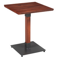 Lancaster Table & Seating 24 inch Square Solid Wood Live Edge Dining Height Table with Mahogany Finish