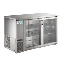 Avantco UBB-2G-HC 59 inch Stainless Steel Counter Height Glass Door Back Bar Refrigerator with LED Lighting