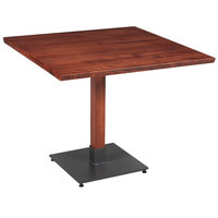 Lancaster Table & Seating 36 inch Square Solid Wood Live Edge Dining Height Table with Mahogany Finish