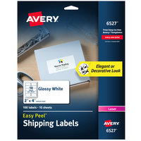Avery 06527 2 inch x 4 inch Glossy White Easy Peel Permanent Laser Printable Shipping Label - 100/Pack