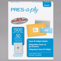 Avery 30632 PRES-a-ply 2/3 inch x 3 7/16 inch Matte White Permanent Printable Label - 1500/Box