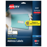 Avery 06529 1 inch x 2 5/8 inch Matte White / Gold Easy Peel Permanent Inkjet Printable Address Label with Border - 300/Pack
