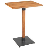 Lancaster Table & Seating 24 inch x 30 inch Solid Wood Live Edge Bar Height Table with Antique Natural Finish