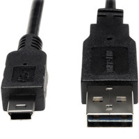 Tripp Lite UR030-006 6' Black USB 2.0 Reversible A to 5-Pin Mini B Cable with 2 Male Connectors