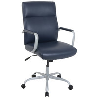 Alera ALEKA24129 Kathy Ireland by Alera Manitou Series High-Back Navy Leather Office Chair
