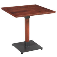 Lancaster Table & Seating 30 inch Square Solid Wood Live Edge Dining Height Table with Mahogany Finish