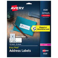 Avery 06526 1 inch x 2 5/8 inch Glossy White Easy Peel Permanent Laser Printable Address Label - 750/Pack