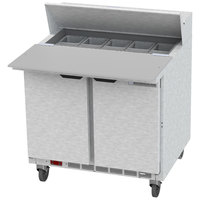 Beverage Air SPE36HC-10C 36 inch 2 Door Cutting Top Refrigerated Sandwich Prep Table with 17 inch Wide Cutting Board
