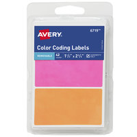 Avery 06719 1 1/2 inch x 2 3/4 inch Assorted Matte Color Removable Color Coding Handwrite Only Label - 42/Pack