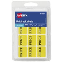 Avery 06752 3/4 inch x 15/16 inch Matte Neon Yellow Removable Handwrite Only Pricing Label - 300/Pack