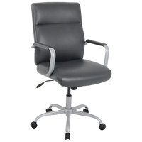 Alera ALEKA24149 Kathy Ireland by Alera Manitou Series High-Back Gray Leather Office Chair
