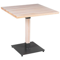 Lancaster Table & Seating 30 inch Square Solid Wood Live Edge Dining Height Table with Antique White Wash Finish