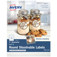 Avery 14227 2 inch Matte White Dissolvable Printable Round Label - 36/Pack