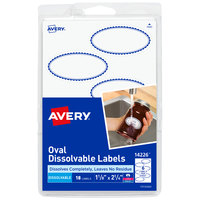 Avery 14226 1 1/8 inch x 2 1/4 inch Matte White / Blue Dissolvable Printable Oval Label with Border - 18/Pack
