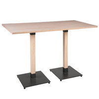 Lancaster Table & Seating 30 inch x 60 inch Solid Wood Live Edge Bar Height Table with Antique White Wash Finish